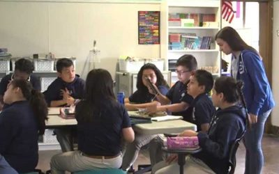 Photo of group of students working together at a table