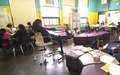 Photo of creative classroom with flexible groups of students