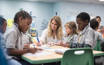 Photo of teacher working with a group of students at table in classroom