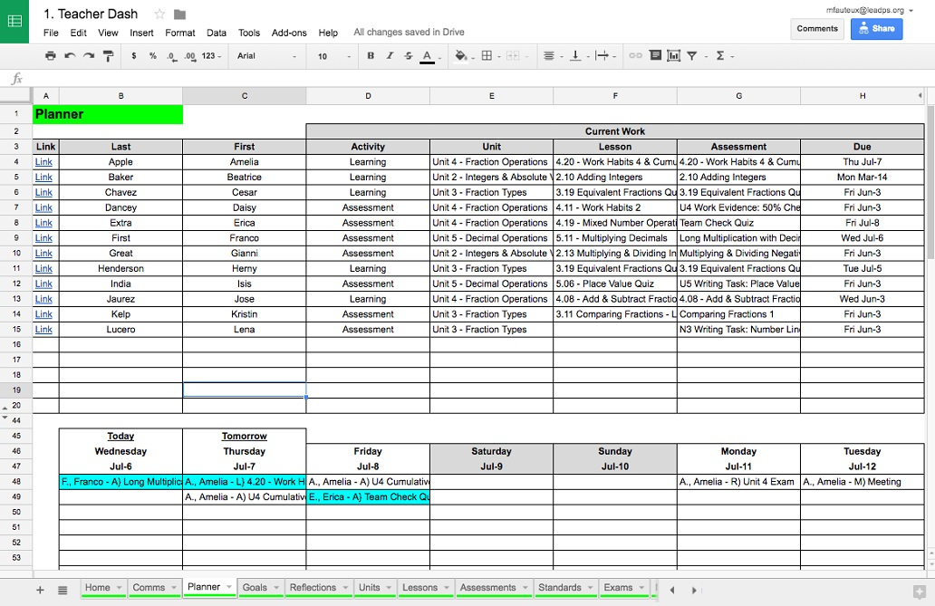 This is a sample teacher view of weekly student planning data from the Google version of the LPS student dashboard.