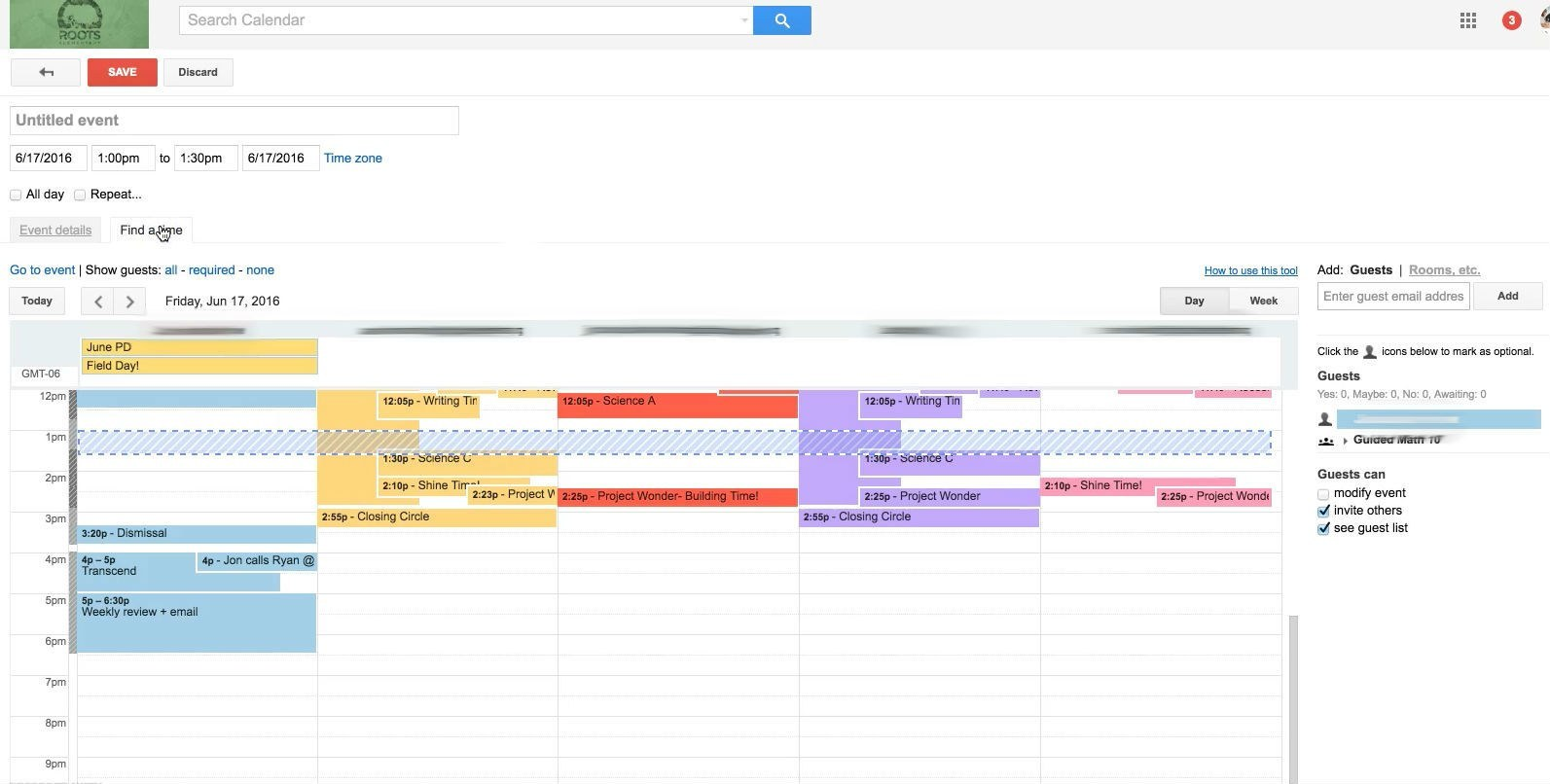 Roots has each student follow an individual Google calendar for that day's tasks at hand.