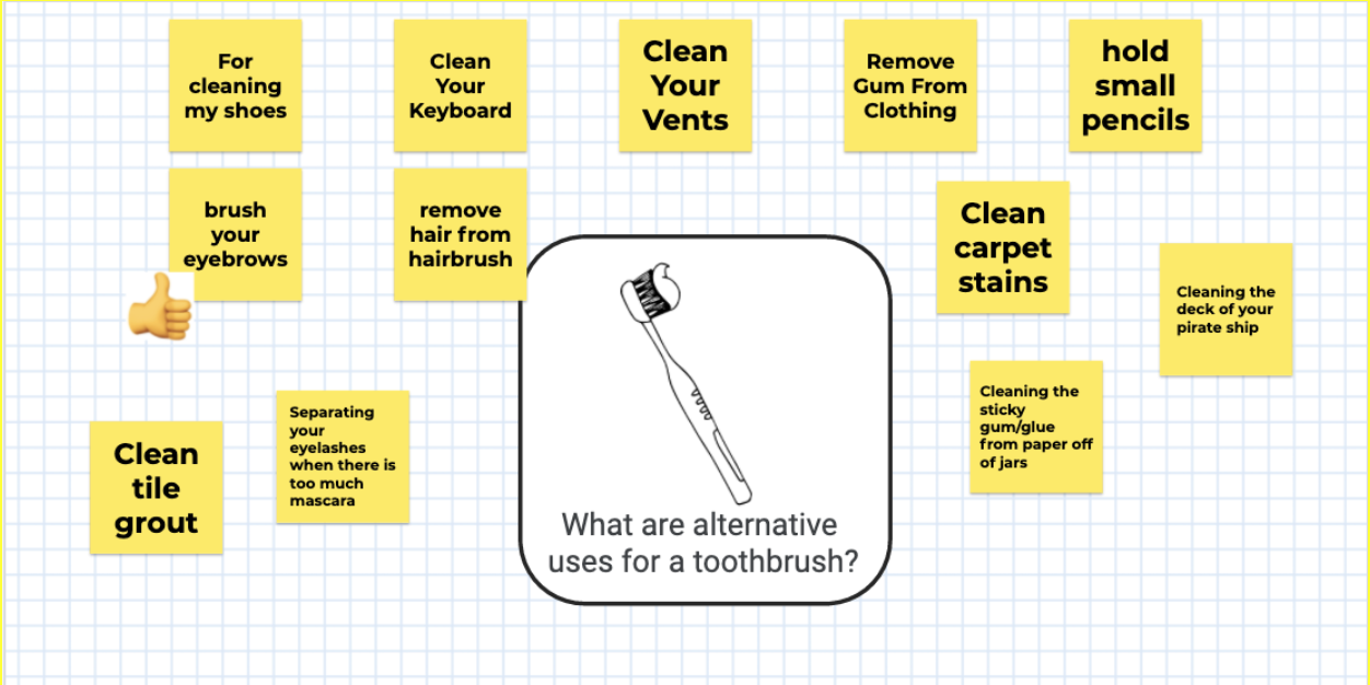 """Image showing an example of how young students could use Jamboard to collaborate. This example is focused on """"what is an alternative use for a toothbrush?"""" There are several virtual sticky notes around this question, which read: For cleaning my shoes, brush your eyebrows (with a thumbs-up icon next to it), clean tile grout, clean your keyboard, remove hair from hairbrush, separating your eyelashes when there is too much mascara, clean your vents, remove gum from clothing, clean carpet stains, cleaning the sticky gum/glue from paper off of jars, hold small pencils, cleaning the deck of your pirate ship."""