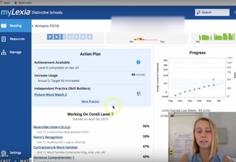 Screenshot of My Lexia dashboard showing student progress and teacher planning