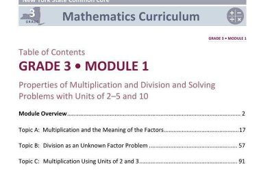 Worksheet detailing math common core standard for Grade 3, Module 1
