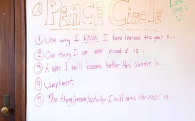 White board showing conversation prompts for students for a Peace Circle meeting