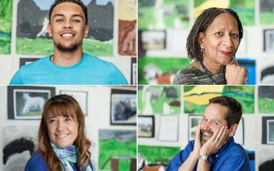Profile photos of four adults smiling at camera