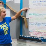 Student points at line on color-coded poster hanging up on the wall