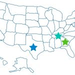 Outline of United States showing colorful stars in the following states: Georgia, Tennessee, Texas, and Rhode Island