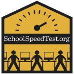 Logo for School Speed Test, showing icons of people next to computers with a speedometer overhead, on a yellow background
