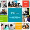 Screenshot of PLP Pro website that shows several colorful squares mixed in with photos of students learning, quotes, and PLP Pro website options